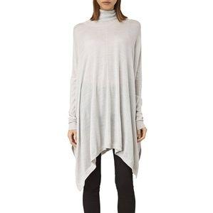 AllSaints Benton Cape poncho sweater gray